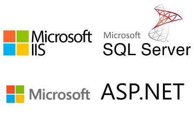 We use Microsoft ASP.NET and Microsoft SQL Server, hosted on Microsoft Internet Information Server (IIS)