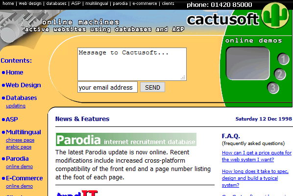 Cactusoft website in 1998