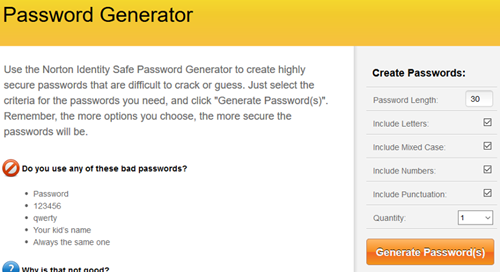 Generate strong random passwords