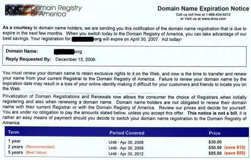 Domain slamming uses official looking invoices